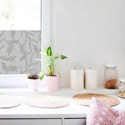 naklejka piaskowane szkło do kuchni z liśćmi