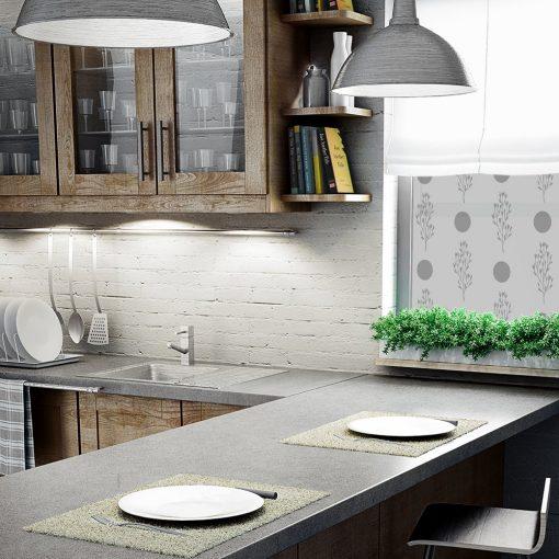 naklejka na okno do kuchni z kropkami i roślinkami