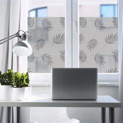 naklejka okienna do biura z tropikalnymi liśćmi