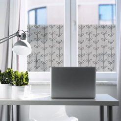 firanka samoprzylepna do biura z roślinnym wzorem