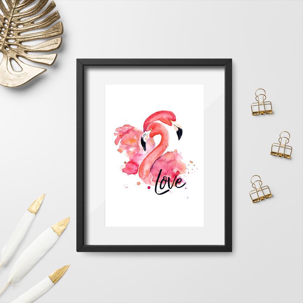 plakat różowe flamingi