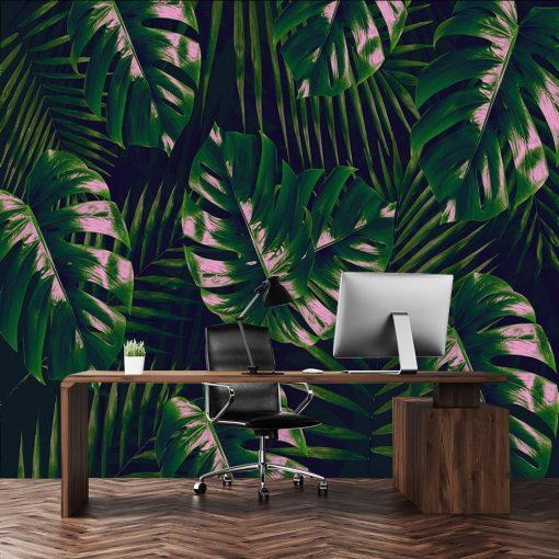 tapeta liście tropikalne