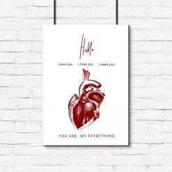 plakat z motywem serca