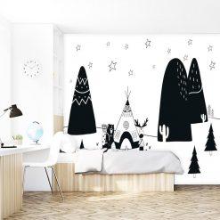 tapeta czarno-biała biwak