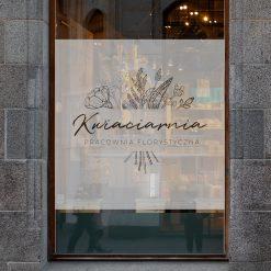 naklejka na okno logo kwiaciarni