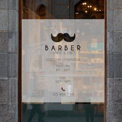 Naklejka na szybę barber godziny otwarcia i logo