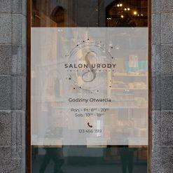 naklejka na drzwi logo salonu urody i godziny otwarcia