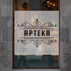 naklejka na okno z logiem apteki