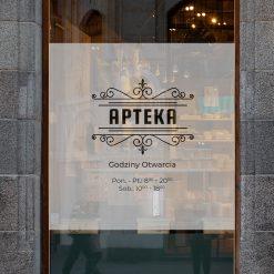 naklejka na szybę logo i godziny otwarcia apteki