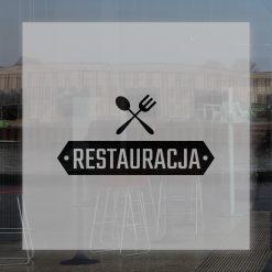 naklejka na witrynę z logiem restauracji