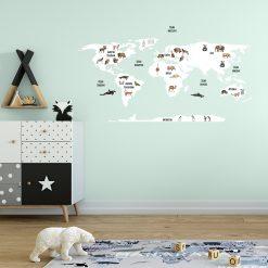 naklejka na ścianę ilustrowana mapa świata