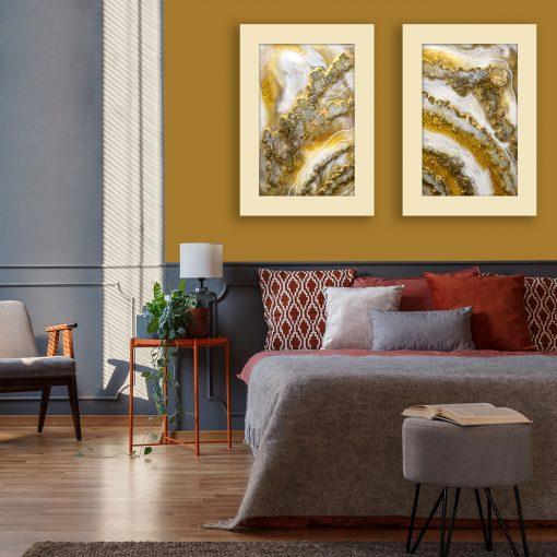 żółta dekoracja resin art