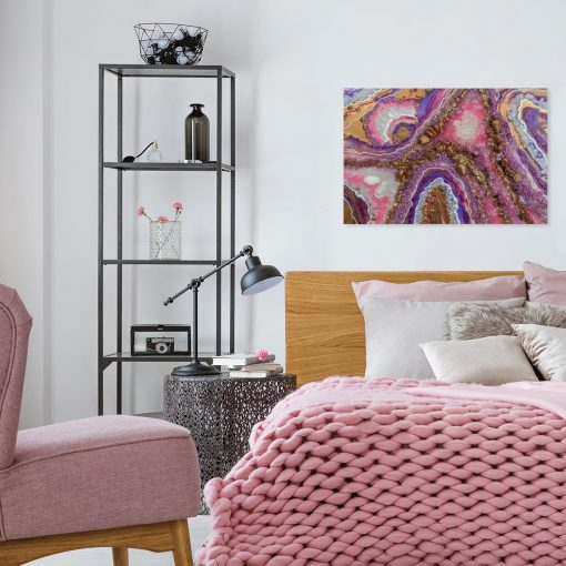 fioletowy obraz do sypialni resin art