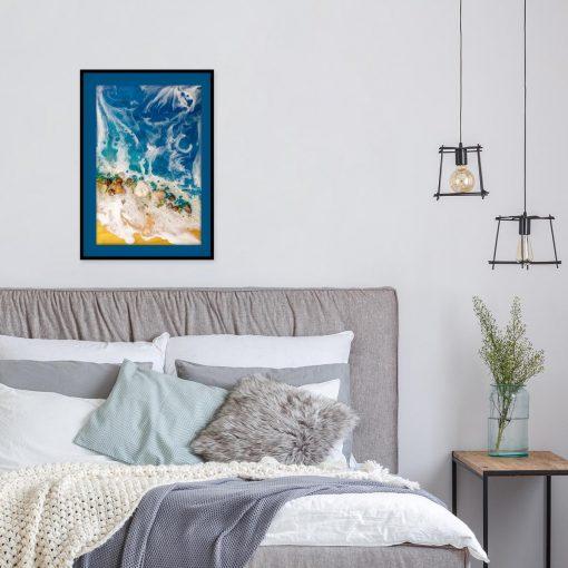 plakat morski z motywem abstrakcyjnych fal