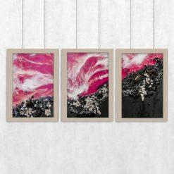 dekoracja różowa jako tryptyk