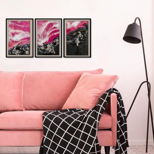 abstrakcyjna dekoracja jako tryptyk