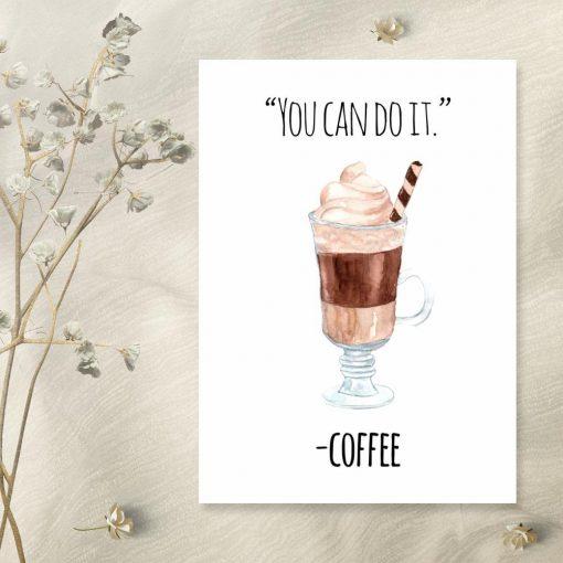 motywujący plakat i kawa