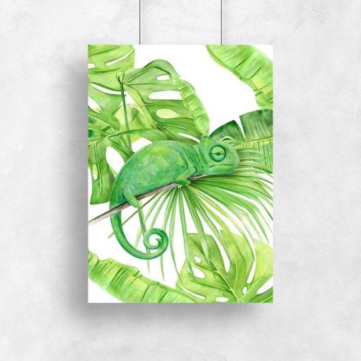 pionowy plakat zielony i monstera