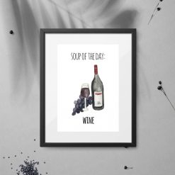 plakat po angielsku napisem i wino