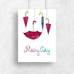 Plakat w ramie z parasolkami