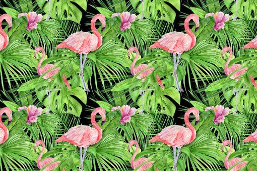 flamingi i monstera na czarnym tel fototapety