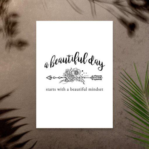 plakat z napisem o pięknym dniu