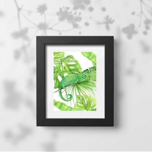 zielona dekoracja tropikalna z monsterą