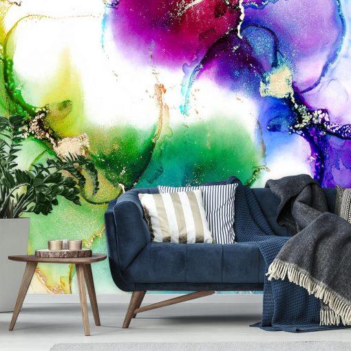Fototapeta z motywem fioletowych, zielonych i niebieskich plam