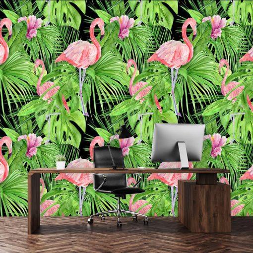 zielone wzory z flamingami i liśćmi