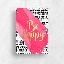 napis o szczęściu jako plakat