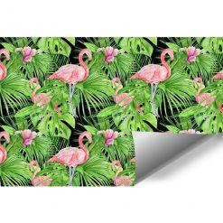 liście zielone i flamingi jako dekoracja ścienna