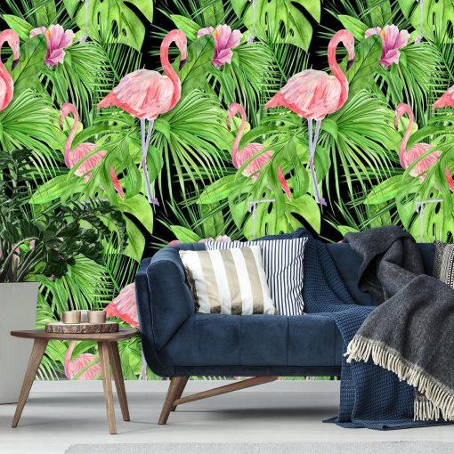dekoracja ścienna z motywem zielonych liści