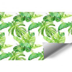fototapeta z monsterą i liśśmi tropikalnymi