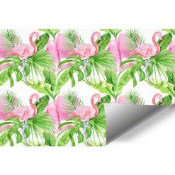Fototapeta z flamingami na tle tropikalnych liści