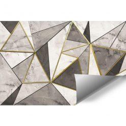 Szara tapeta z marmurowymi trójkątami