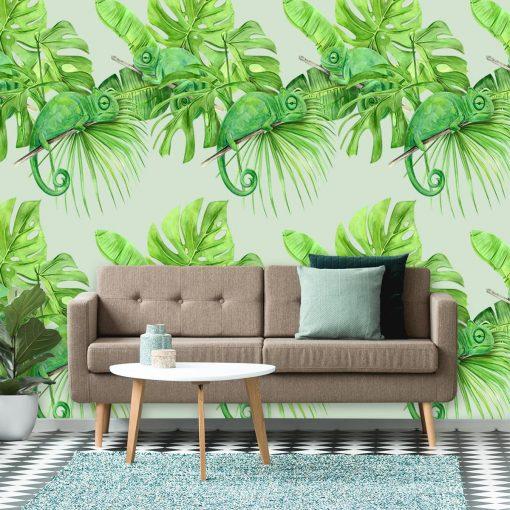 Kameleony i tropikalne liście jako fototapeta