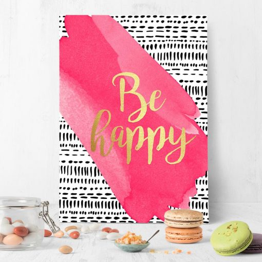 plakat z motywem napisu o szczęściu
