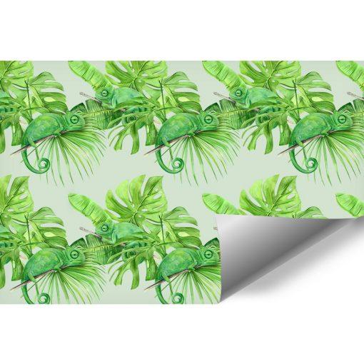 Kameleony i tropikalne liście na tapecie