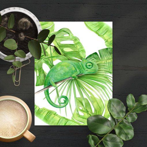 tropikalny plakat i kameleon z monsterą