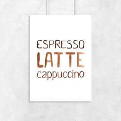 3 kawy jako motyw plakatu do kawiarni