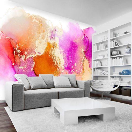 ścienna dekoracja jako plamki różowe i pomarańczowe