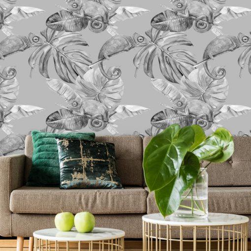 tapeta w bieli i czerni przedstawiająca tropiki
