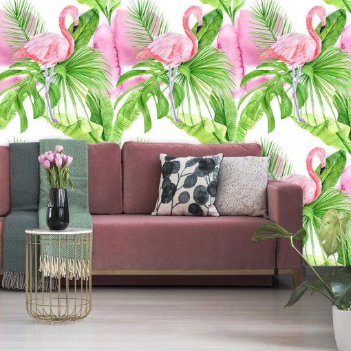 Flamingi i tropikalne liście na tapecie