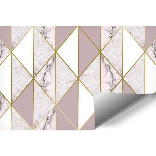 Marmurowa różowo-złota kompozycja na fototapecie