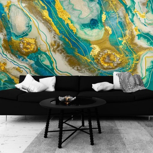 fototapeta do salonu abstrakcja malarstwo żywiczne złoty