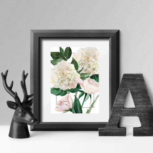 plakat z subtelnymi kwiatami