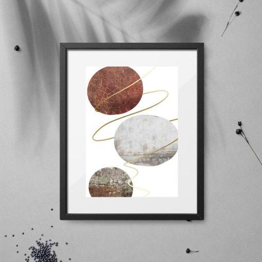 plakat z kamiennymi kołami