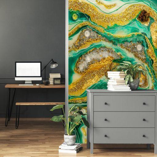Dekoracja ze złotymi plamami ściany sztuką żywicy - fototapeta