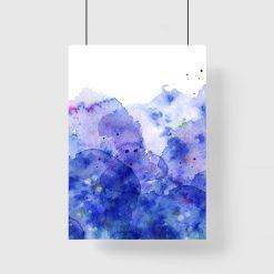 Plakat w tonacji niebieskiej z motywem abstrakcji