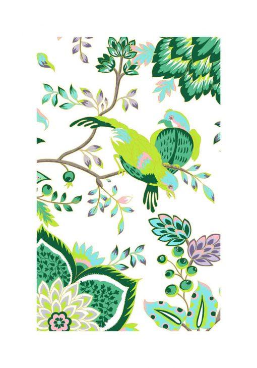 Plakat w kolorze zielonym z ptaszkami